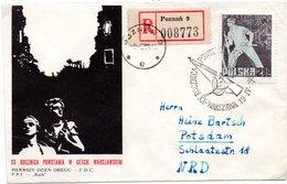 """(2WK-1) Polen R-FDC Mi.1391, """"2. Weltkrieg - 20. Jahrestag Des Warschauer Aufstandes"""",  ESSt 19.4.1963 - FDC"""