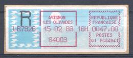 Vignette D'affranchissement De Guichet Recommandé - MOG - AVIGNON LES OLIVADES 15 02 88 / 47,00 Fr - 1985 Papier «Carrier»