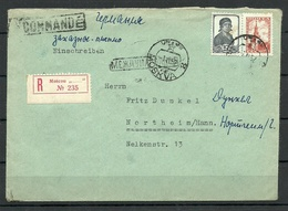 RUSSLAND RUSSIA 1952 Registered Air Mail Cover MOSCOW Registration Label To Germany - 1923-1991 URSS