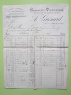 Facture Document - Usine à Vapeur, Brasserie,Vinaigrerie Vins, Eaux De Vie, Liqueurs & Sirops à Nevers (58) 15/10/1895>> - Alimentaire