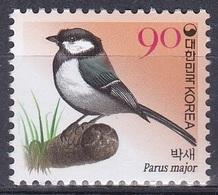 Südkorea South Korea 2006 Tiere Fauna Animals Vögel Birds Oiseaux Aves Uccelli Kohlmeise Great Tit, Mi. 2521 ** - Korea (Süd-)