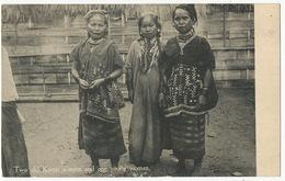 Two Old Karen Women And One Young Woman Wearing Long Hair - Myanmar (Burma)