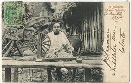 A Burmese Woman Spinning  . P. Used  Calcutta G.P.O. Sea Post Office 1904 - Myanmar (Burma)