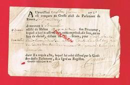 1 Document ... Greffe Du Parlement De ROUEN En 1781 Cachet De Généralité De Rouen - Seals Of Generality