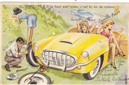 """CARTE FANTAISIE  SIGNÉE  CARRIÈRE ILLUSTRATEUR. CONDUITE AUTOMOBILE  """" Il Se Faut Entr'aider......"""". - Carrière, Louis"""