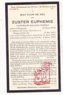 DP EZ Malvina Nuwel - Zr. Euphemie ° Brugge 1874 † Langemark 1934 / Klooster Apostelinnen Brugge - Devotion Images