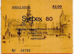 Entry Ticket Sydpex 80. Sydney Town Hall (National Philatelic Exhibition) Australia.  (deux Photos) - Biglietti D'ingresso