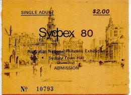 Entry Ticket Sydpex 80. Sydney Town Hall (National Philatelic Exhibition) Australia.  (deux Photos) - Tickets D'entrée