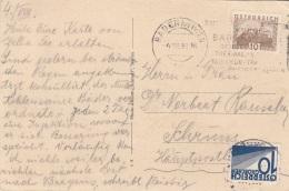ÖSTERREICH NACHPORTO 1932 - 10 Gro (Ank139) Nachportofrankierung + 10 Gro Auf Ak BADEN Bei Wien, Gel.1932 V.Baden B.Wien - Portomarken