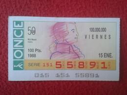 CUPÓN DE ONCE SPANISH LOTTERY CIEGOS SPAIN LOTERÍA BLIND ESPAGNE 1988 MÚSICO MUSICA MUSIC W.  AMADEUS MOZART VER FOTO/S - Billets De Loterie