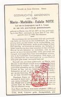 DP Maria Math. Note ° Ooike Wortegem-Petegem 1871 † Gent 1937 - Devotion Images