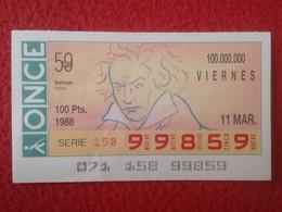 CUPÓN DE ONCE SPANISH LOTTERY CIEGOS SPAIN LOTERÍA BLIND ESPAGNE 1988 MÚSICO MÚSICA CLÁSICA MUSIC BEETHOVEN VER FOTO/S - Billets De Loterie