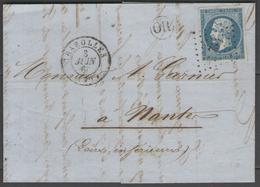 Saône Et Loire:  P.c.754 Sur N°14A + CàD CHAROLLES(70) Sur LAC De 1860 (origine MARTIGNY-LE-COMTE) - Marcophilie (Lettres)
