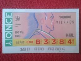 CUPÓN DE ONCE SPANISH LOTTERY CIEGOS SPAIN LOTERÍA BLIND ESPAGNE 1988 MÚSICO MÚSICA CLÁSICA MUSIC GEORGE GERSHWIN VER FO - Billets De Loterie