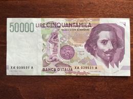 50000 LIRE BERNINI SERIE SOSTITUTIVA XA BB+ 1992 - [ 2] 1946-… : République