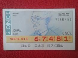 CUPÓN DE ONCE SPANISH LOTTERY CIEGOS SPAIN LOTERÍA BLIND ESPAGNE 1987 MÚSICO MÚSICA CLÁSICA MUSIC MANUEL DE FALLA VER FO - Billetes De Lotería