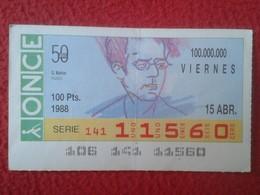 CUPÓN DE ONCE SPANISH LOTTERY CIEGOS SPAIN LOTERÍA BLIND ESPAGNE 1988 MÚSICO MÚSICA CLÁSICA MUSIC GUSTAV MAHLER VER FOTO - Lotterielose