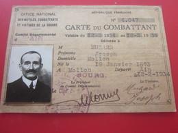 MILITARIA CARTE DU COMBATTANT 1939 WW2 OFFICE NATIONAL MUTILES,COMBATTANTS,VICTIMES De La GUERRE-Muzard Bourg Ain 01 - Documents