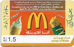 Oman - Hayyak GSM Refill Card - McDonald's - Exp.31.12.2020, 1.5Rial, Used - Oman