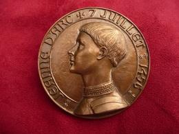 Grosse Médaille Bronze Jeanne D'Arc Par J H Coêffin - Other