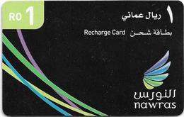 Oman - Nawras GSM Refill Card - Black 1Rial Card - Exp.30.09.2013, Used - Oman