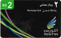 Oman - Nawras GSM Refill Card - Nawras Black #2 - Exp.30.07.2012, 2Rial, Used - Oman