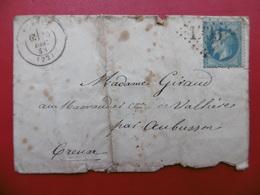 LETTRE CACHET GUERET GC 1733 TIMBRE VARIETE PIQUAGE 1863 - 1849-1876: Classic Period