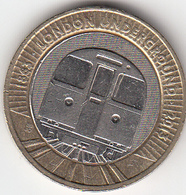Great Britain UK £2 Two Pound Coin Underground Train - Circulated - 2 Pounds