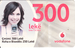 ALBANIA - Girl On Phone, Vodafone Prepaid Card 300 Leke, Used - Albania
