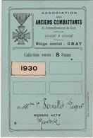 """Carte D' Ancien Combattant / 1930 / Devise """"Coude à Coude""""/ 70 Gray / Veuve Vernillet Lavier à Mantoche - Documents"""