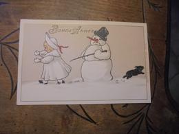"Illustrateur Gesetlich   "" Fille Fuyant Devant Bonhomme De Neige "" - Illustratori & Fotografie"