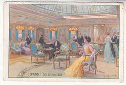 Bateau - Illustrateur - Compagnie Générale Transatlantique - Paquebot Espagne - Salon De Conversation - Paquebots