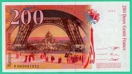 200 Francs -  France -  Type  Eiffel - N° P003091232  1995 - TB+ - - 1992-2000 Ultima Gama