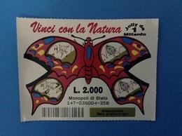 GRATTA E VINCI USATO L. 2000 VINCI CON LA NATURA FARFALLA COLORE ROSSO - Lottery Tickets