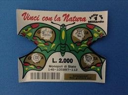 GRATTA E VINCI USATO L. 2000 VINCI CON LA NATURA FARFALLA VERDE - Lottery Tickets