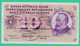 10 Francs - Suisse - N° 028234 Série 88 A 1973  - TB + - Suisse