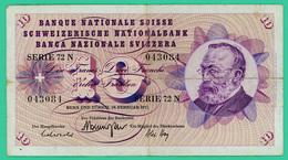 10 Francs - Suisse - N° 043084 Série 72 N  1971  - TB + - Suisse