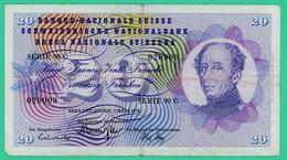 20 Francs - Suisse - N° 020909 Série 90 C  1973  - TB + - Suisse