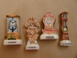 Lot De Fèves Horloges, Anciennes Pendules, Carillon Le CARTEL Le COUCOU SUISSE Horloge à Musique Et La COMTOISE - Charms