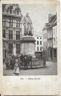 HALLE (1500) : HAL - Statue De Servais Devant L'Hôtel De Ville. Belle Petite Animation. CPA. - Halle