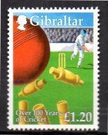 GILBRALTAR  N° 893   * *   ( Cote 6.50e ) Centenaire Du Cricket - Cricket