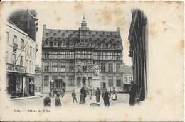 HALLE (1500) : HAL - Hôtel De Ville Et Statue De Servais. Belle Animation. Charette, Magasin Delhaize. CPA Précurseurs. - Halle