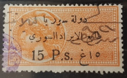 "BB2 #9 - Syria 1924 Fiscal Revenue Stamp 15p Orange - Top Rare - Variety Of Thin ""1"" - Syria"