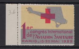 "TIMBRE / VIGNETTE En NEUF ** BDF "" 1ER CONGRES INTERNATIONAL AVIATION SANITAIRE PARIS 15-20 MAI 1929 "" - Aviation"