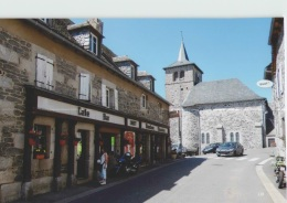 CPM 12 LACALM ... Rue Principale Et L'église (Livenais VE100812) Maison Conquet - France