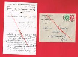 1 Lettre + Enveloppe G SAUVAGE LA FERTE MACE 45 Rue D'Hautvie Article Pour Boulangerie - 1900 – 1949