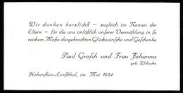 B7201 - Hohenstein Ernstthal - Paul Grosch Johanna Zschocke - Visitenkarte - Visitenkarten