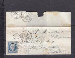 FRANCE 15 OBL PC1977 METZ MOSELLE DERNIER JOUR DU TARIF A 25cm LE 30 JUIN 1854 RARE-SANS COURRIER - Postmark Collection (Covers)