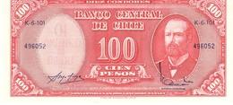 Chile P.127 100 Pesos 1960  Unc - Cile