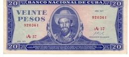 Cuba P.105  20  Pesos 1971  Xf - Cuba